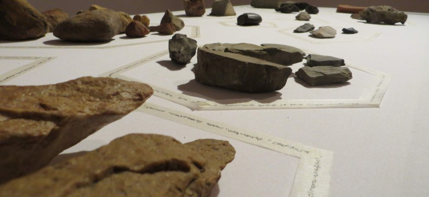 A variety of rocks sourced from Hiddingh Campus in combination with Early and Middle Stone Age tools from the Archaeology department, arranged according to type and combined with a mixture of historical and personal associations.